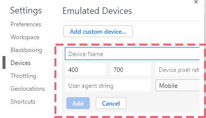 """""""Add Custom Device""""から機種を登録します"""